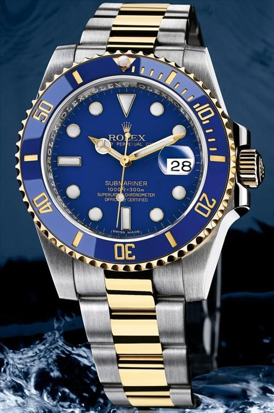 rolex submariner gold steel blue dial